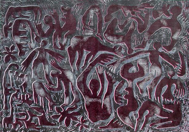 04_Relief, 1999, Farbholzschnitt auf Bue