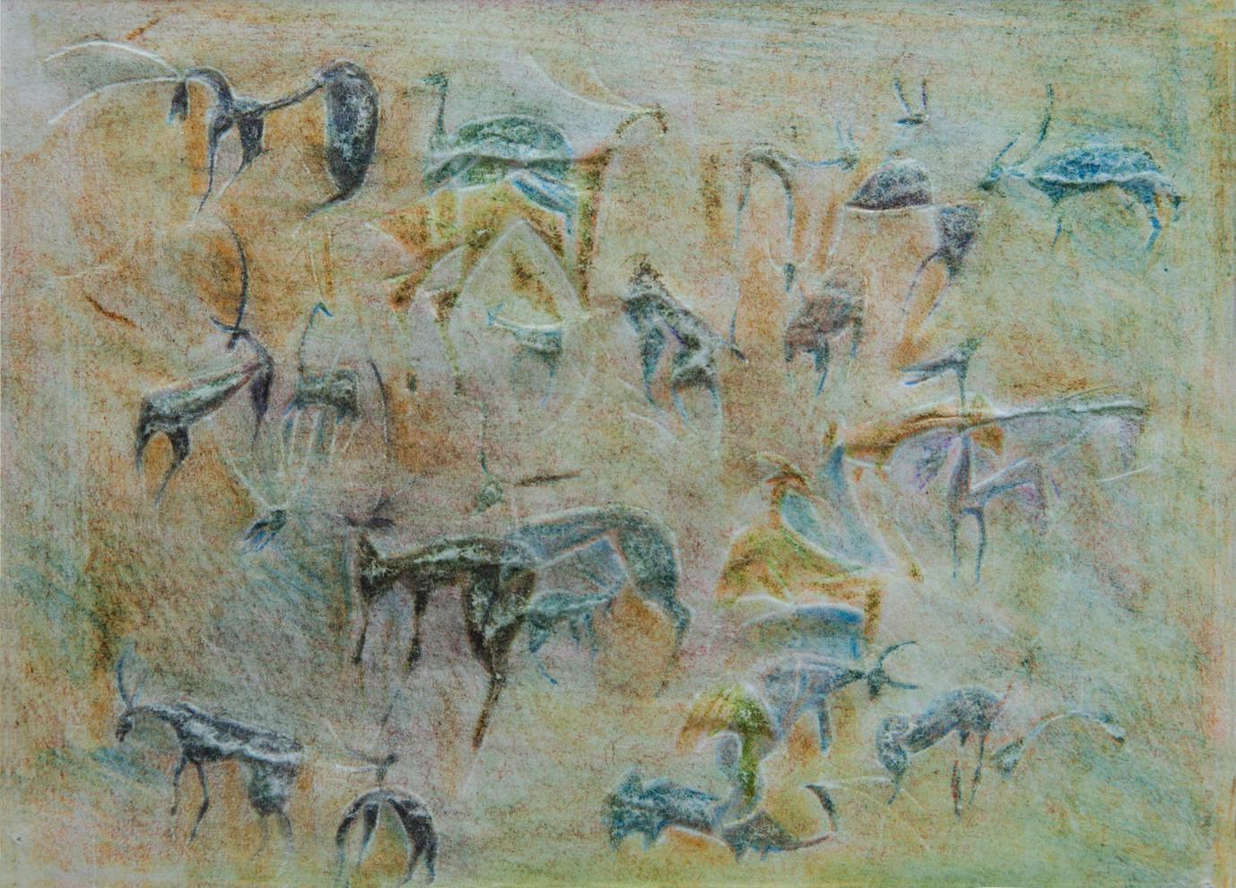 Herde, 1983 Buntstift u. Gravur, 10,5 x 14,5 cm