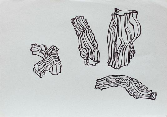 Holzscheitstudien, 1982, Kugelschreiber