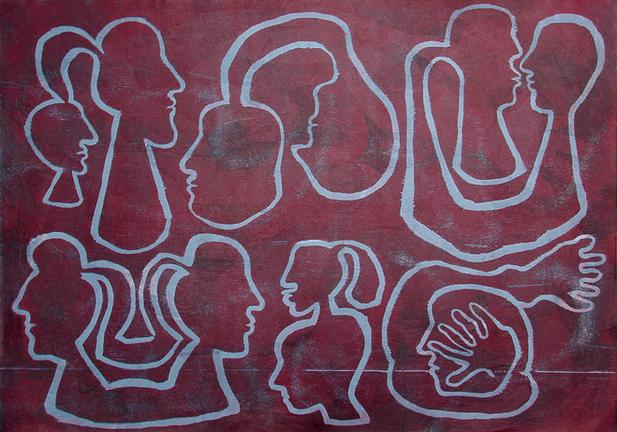 07_Heads, 1999, Farbholzschnitt auf Buet