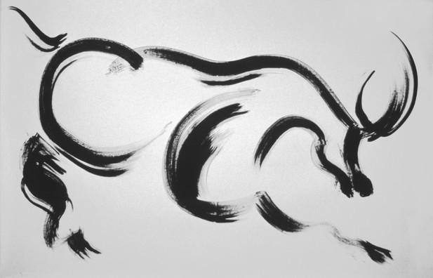 Stier, Paris 1982, Chinesische Tusche, 1