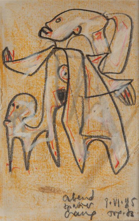 01_Abendspaziergang, 1985, Bleistift, Öl