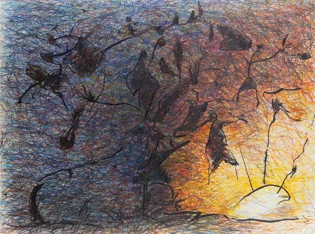 08_Weltenbaum, 1985, Buntstift,  Tusche