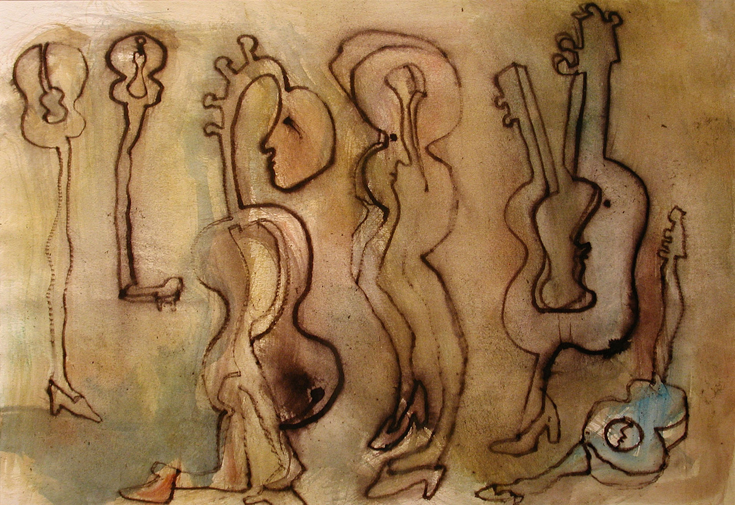 04_Guitar People, 2001, Aquarell u. Tint
