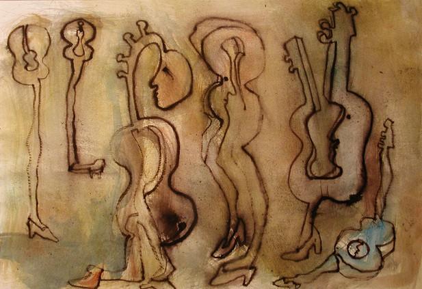 04_Guitar People, 2001, Aquarell u. Tint