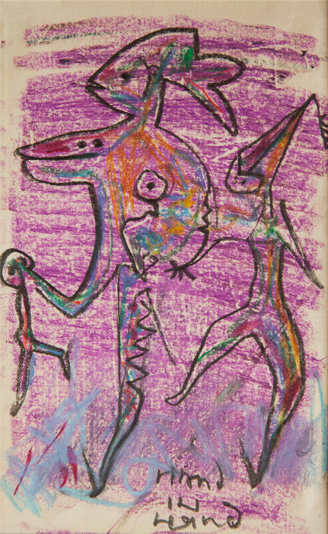 02_Hand in Hand, 1985, Bleistift, Ölkrei