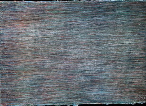 04_Verpuppungen, 2005, Buntstift, 21 x 3