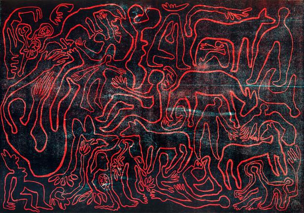 Erinnerung, 1999, Farbholzschnitt auf Bü