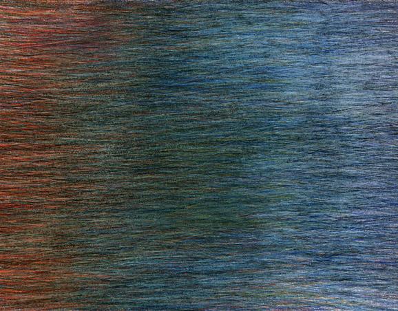 03_Verpuppungen, 2005, Buntstift, 15 x 2