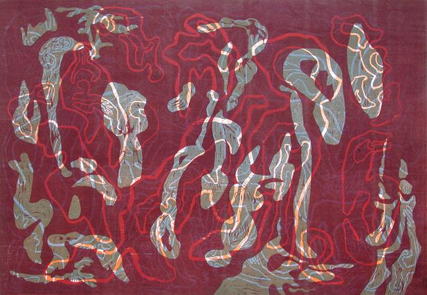 05_Dark_Red, 1999, Farbholzschnitt auf B