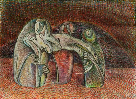 04_Drei Frauen (Wearers), 1985, Bleistif