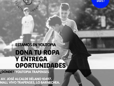 Fitux está en Youtopia recolectando artículos deportivos en desuso