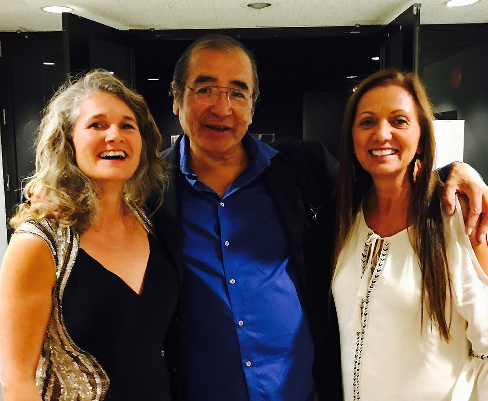 Darci Adam, Director of WHEAT with co-chairs of IEATA conference Tomson Highway (centre) and Renee McGurry (right)