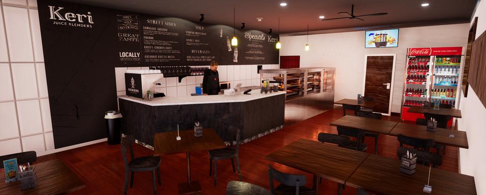 Cafe VR virtual scene