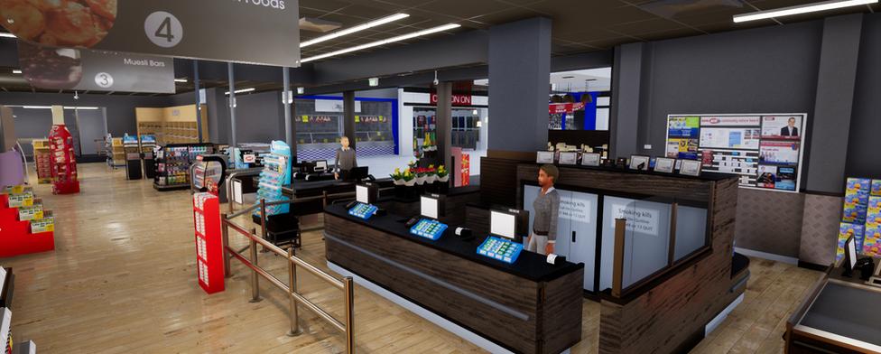 Grocery service desk 3D VR store