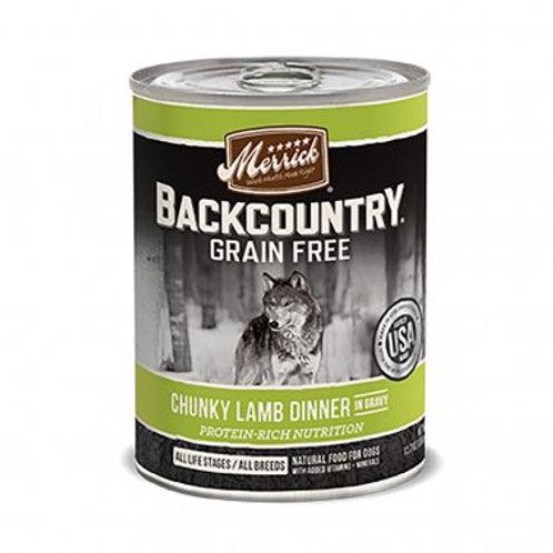 Backcountry Grain Free Wet Dog Food Chunky Lamb Dinner in Gravy