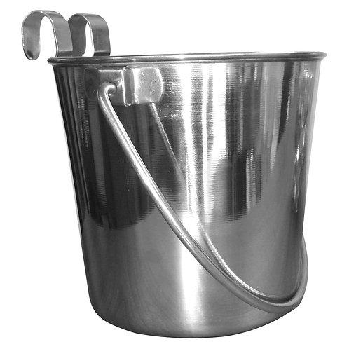 Flat Sided Bucket SS w Hooks - 4qt