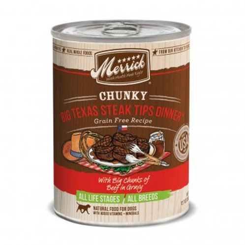 Chunky Grain Free Wet Dog Food Big Texas Steak Tips Dinner