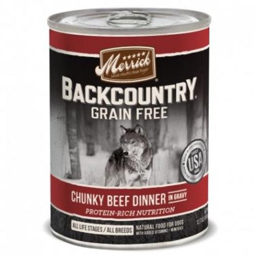 Backcountry Grain Free Wet Dog Food Chunky Beef Dinner in Gravy
