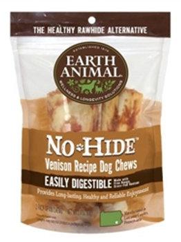 "Earth Animal No Hide Venison Chews Dog Treats, 4"", 2 Pack"