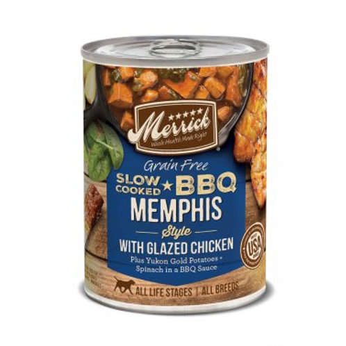 Grain Free Wet Dog Food Slow-Cooked BBQ Memphis Style with Glazed Chicken