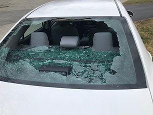 Smashed  car windscreen.