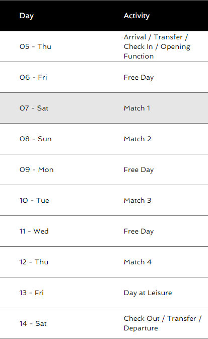 Itinerary for Dubai tour.