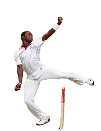 Cricketer bowling a ball