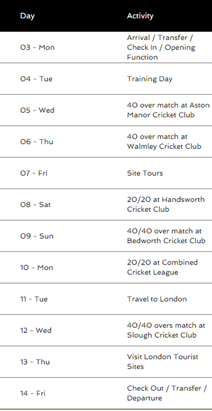 Itinerary for UK sports tour