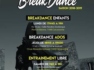 Reprise des cours de breakdance saison 2018-2019