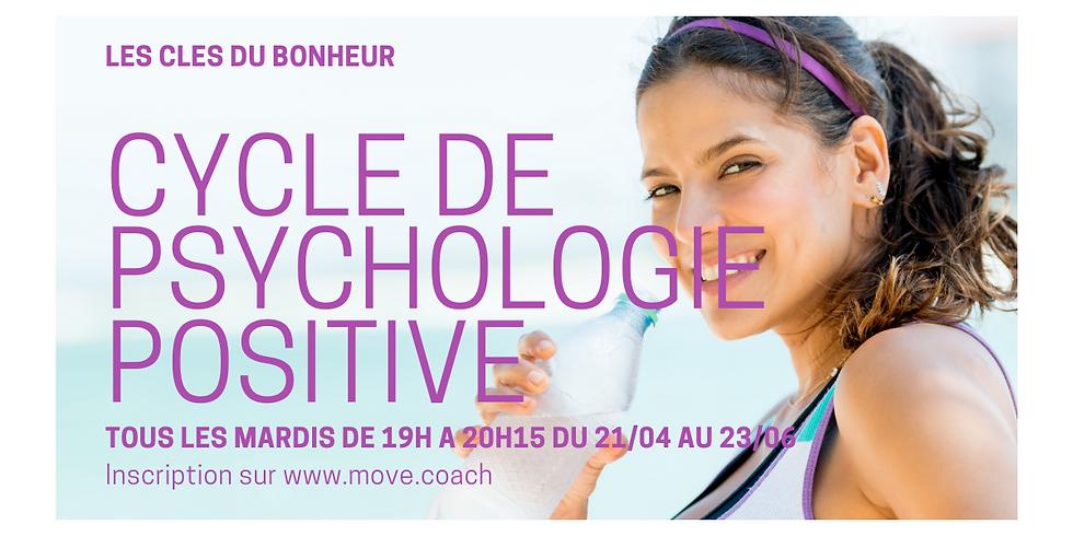 Cycle de Psychologie Positive du mardi de 19h00 à 20h15 (Cours en ligne).