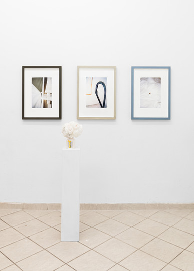 drei graue rahmen/ three grey frames (2017) (prints from 35mm negatives as backwall of frames, each painted differently) bouquet n2 (2017) (vase with painted pattern, flowers made of branded napkins)