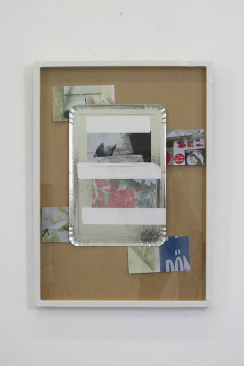 collage (stills from videos, silver plate,gaffa tape), 2016