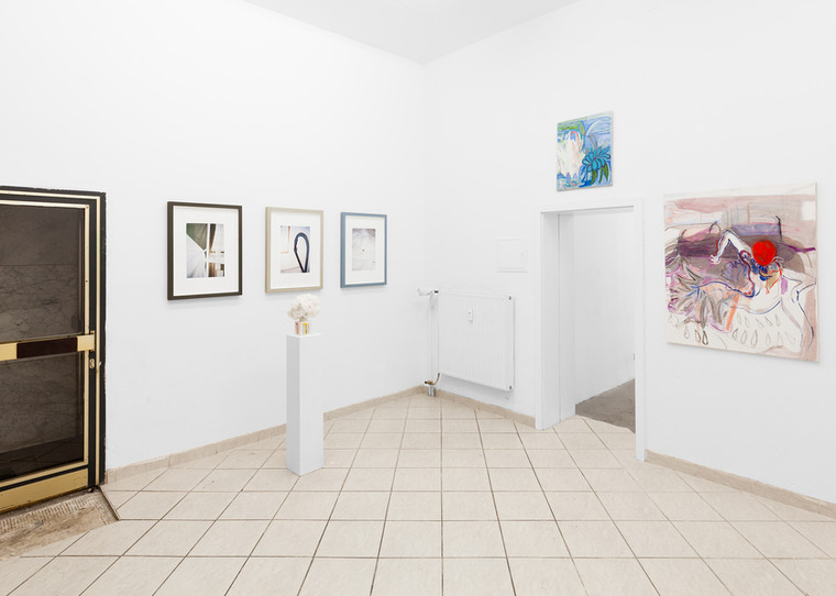 drei graue rahmen/ three grey frames (2017) bouquet n2 (2017) + paintings on the right by Sara Rossi
