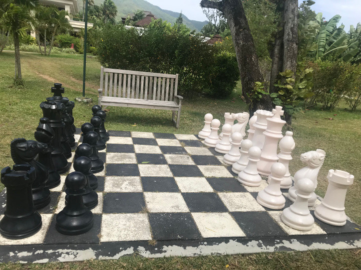 Chess in the lawn at Savoy Resort and Spa, Seychelles