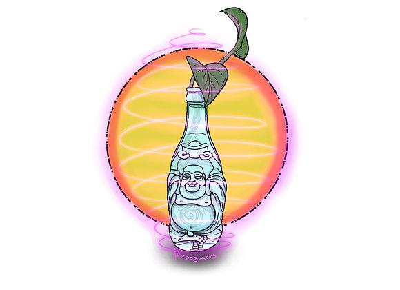 Pothos Buddah Bottle Sticker 3.5 inch