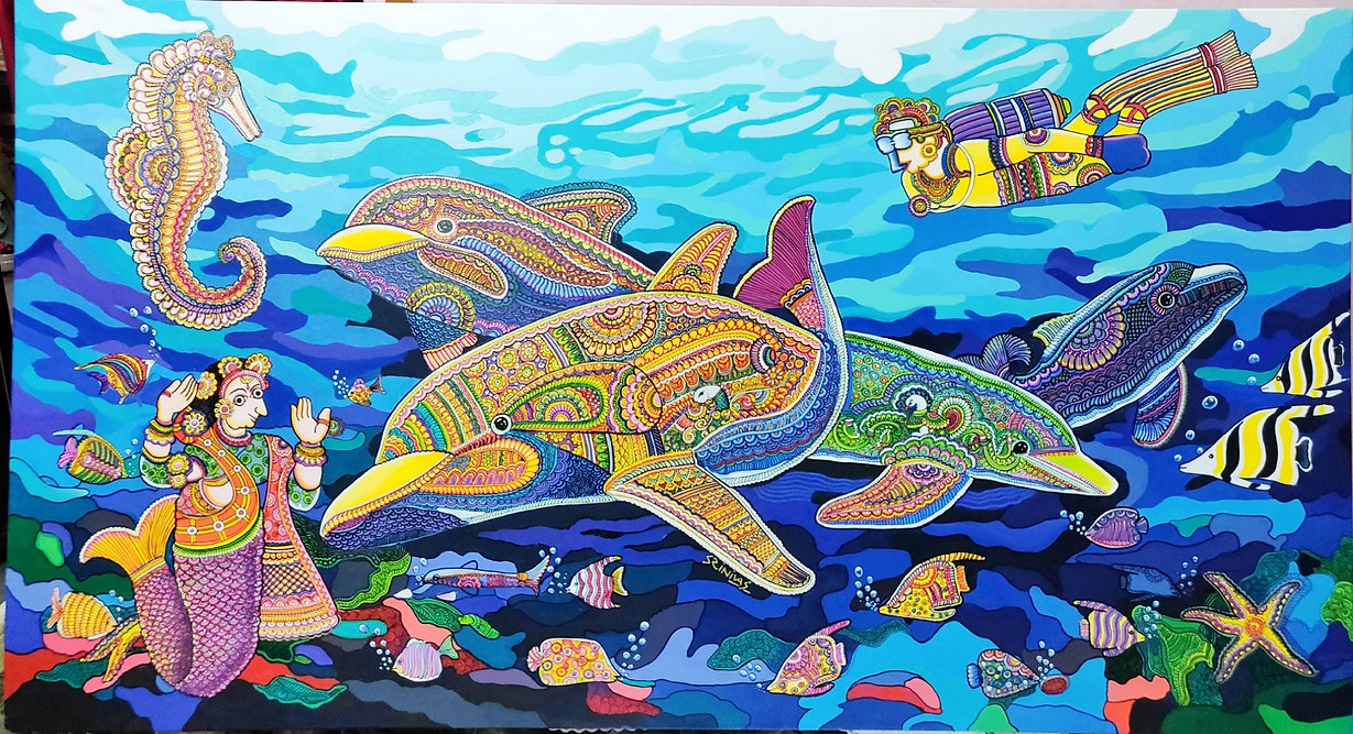 11)TITLE-Ocean Life-02 with Kalamkari Pattern. MEDIEM-mixed media on canvas, SIZE-78 X 54