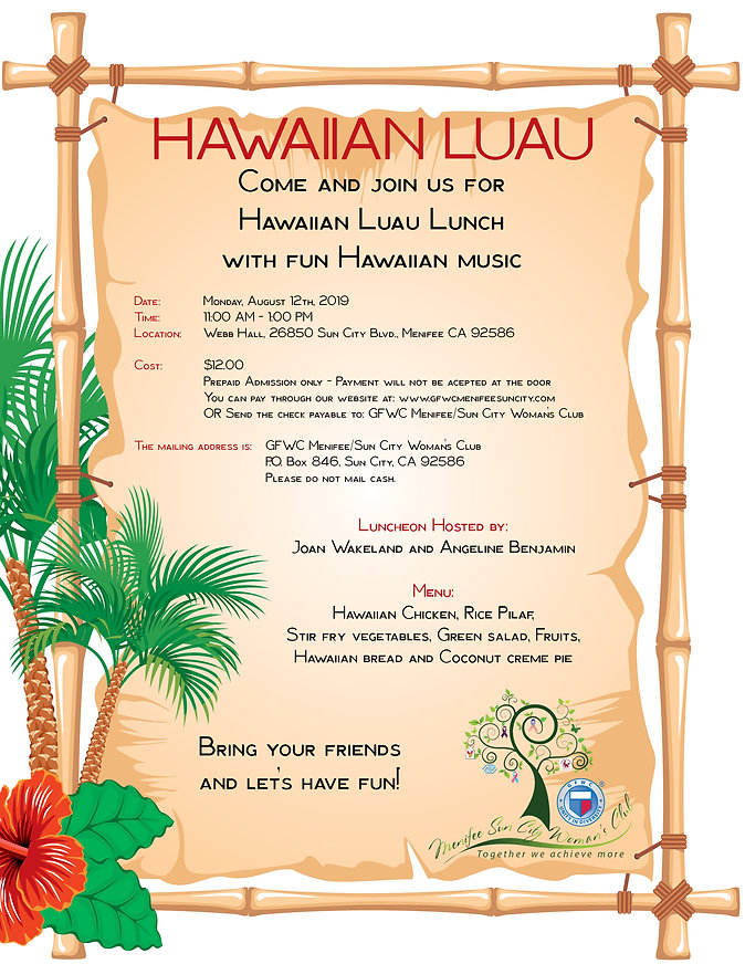 Women's Club Hawaiian Luau Lunch - Aug 2