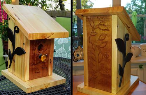 Engraved Reclaimed Woods Birdhouse