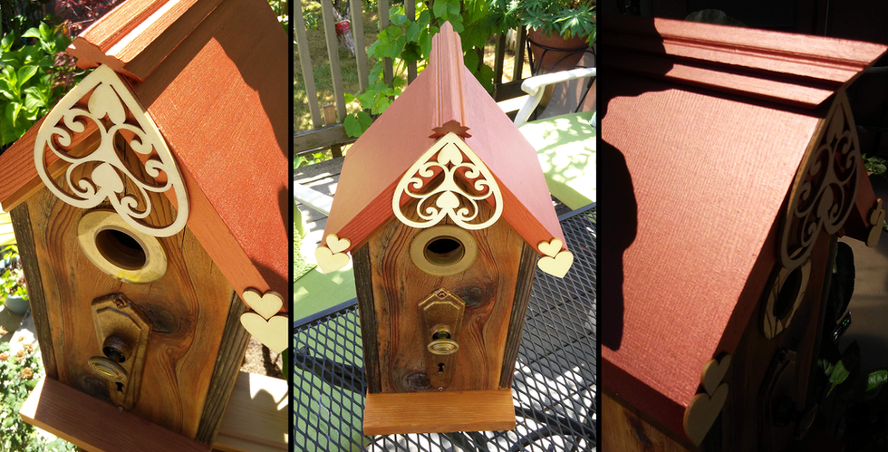 The Copper Top Birdhouse w/Hearts
