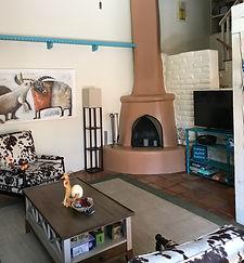 Kiva fireplace, living room