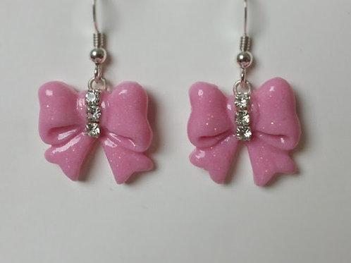 Orecchini fiocchi rosa con strass