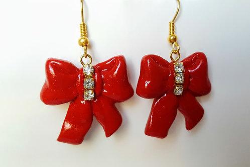 Orecchini Fiocchi rossi con strass