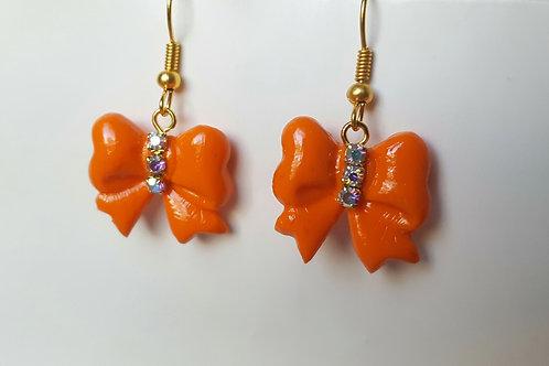 Orecchini Fiocchi arancioni con strass