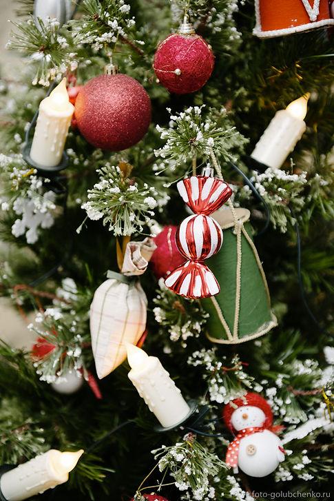 Фото красиво украшенной новогодней елочки дополняет новогодний сет атмосферой праздника.