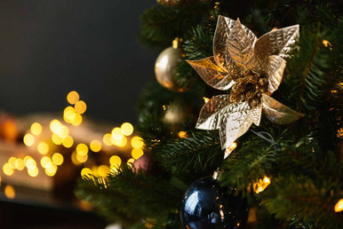 Главная ёлка в большом зале украшена золотыми цветами, которые подчеркивают выбранную тему декораций в этом году.