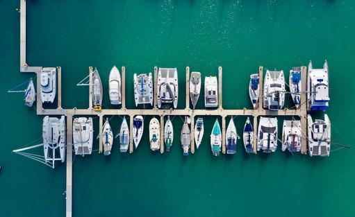 Yachts moored in Mooloolaba