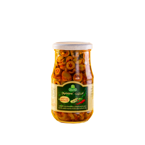 Mukhtarat - Sliced Green Olives With Chi