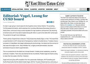 Editorial - Vogel, Leong for CUSD board.
