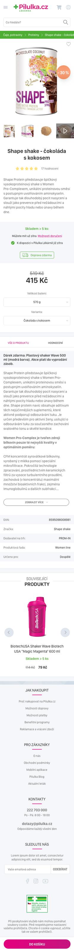 Detail produktu - mobile